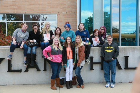 Students gather in front of Hyand Hall at the 2015 Fall Conference at UW-Whitewater.
