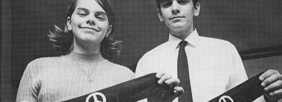 Mary Beth and John Tinker in 1969 show an armband that each wore to school during the Vietnam war. After both were suspended, their First Amendment case made its way to the Supreme Court where student free speech was upheld.