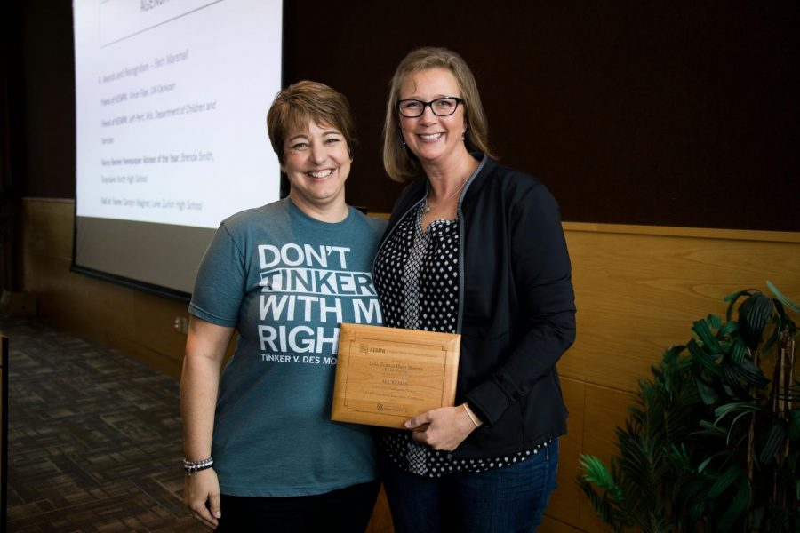Carolyn Wagner (right)  with KEMPA President Beth Marshall. Wagner was named to the KEMPA Hall of Fame in October 2019.